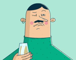 Tegneseriefigur med bart som holder et vinglass