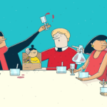 Bilde av tegneseriefigurer som har ulemiddag og skåler rundt barna
