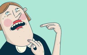 Bilde av en tegneseriefigur som peker på seg selv